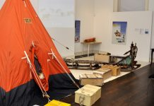 Antarctic tent and Nanson sledge on display at Shrewsbury Museum & Art Gallery
