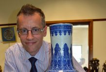 Alexander Clement with the £150,000 Chinese vase