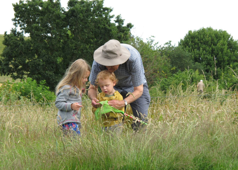 Wildlife hunting enjoyed by young & old at the Old Oswestry BioBlitz. Photo: Diana Baur
