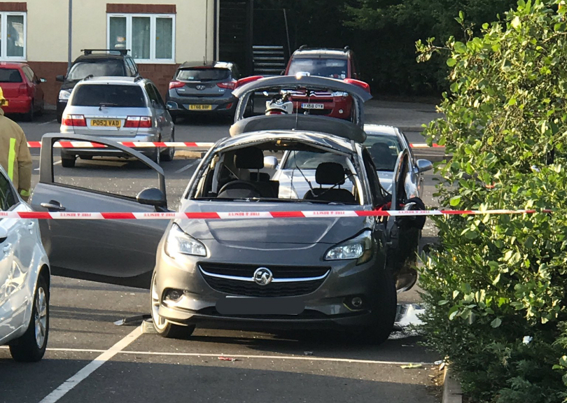 The damaged car following the aerosol explosion. Photo @OPUShropshire