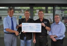 Bruce Udale, Stuart Edwards, Rob Cooke and David Nightingale with the Cheque of £1100 raised for the R D Park Trust