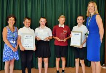Clee Hill Community Academy, from left, PE co-ordinator Mrs Terri Mumford, year six pupils Wade Walker, Erin Lewis, Charles Martin, and Evie Harris, and head teacher Mrs Ceri Little