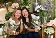 Fran Robinson and Sarah Knowles with the Lonely Bouquets being left around Shropshire