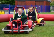 Millie Davies and Sofia Storey enjoy go-karting