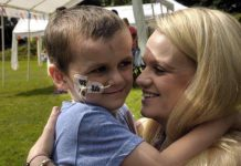 Chrissie with Jack at the family fun day held at Farlow & Oreton village hall last July