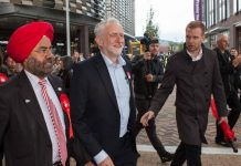 Jeremy Corbyn with Kuldip Sahota during his June visit. Photo: Michael Longland Photography