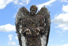 The Knife Angel was created from knives collected in 200 knife banks across the country with the help of all Police Constabularies