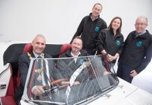 Cllr Ron Whittle (Mayor of Bridgnorth), Christopher Greenough (Salop Design & Engineering), Matthew Snelson (MCMT), Cllr Elliott Lynch, Bekki Phillips (In-Comm Training) and Mike Roe (Classic Motor Cars)