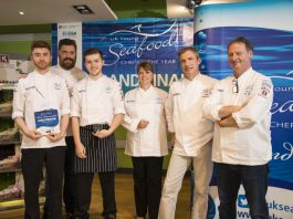 Adam Ashley and Joe Little with celebrity chef Nathan Outlaw, and other members of the judging panel, at the presentation of the 'invention' trophy and certificate