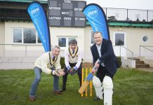 Matt Sandford with Toby Shaw and Bryan Jones of Shropshire County Cricket Club