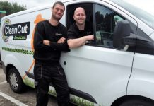Phillip Brazenell, left, is pictured with Gareth Roderick, who is in one of the Clean Cut vans