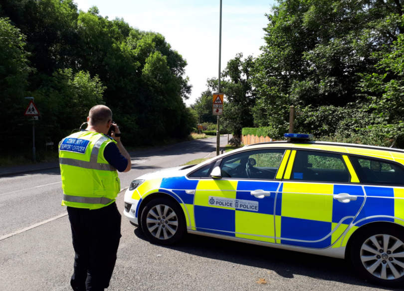 The Safer Neighbourhood Team checking the speed of traffic. Photo: @WenlockCops