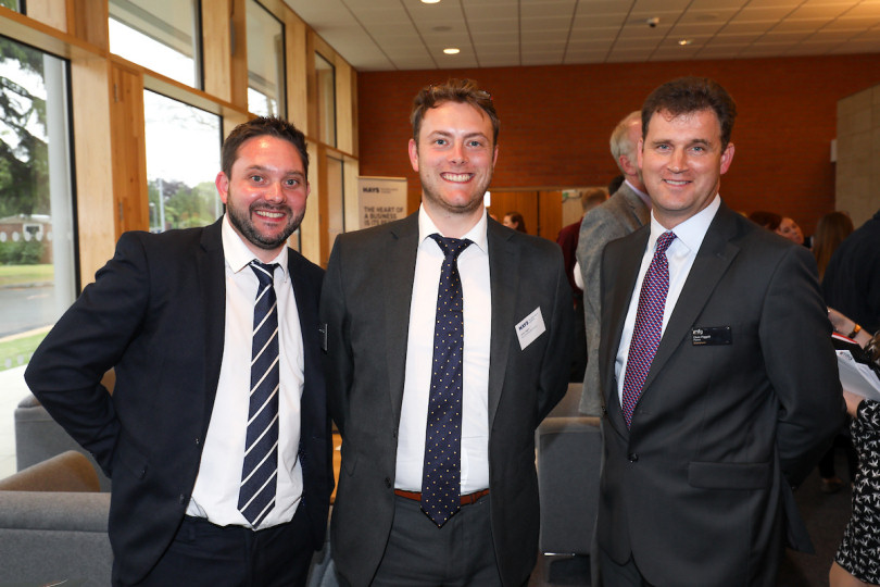 James Coggins and Stuart Callaghan of Hays Recruitment with Chris Piggott from mfg Solicitors