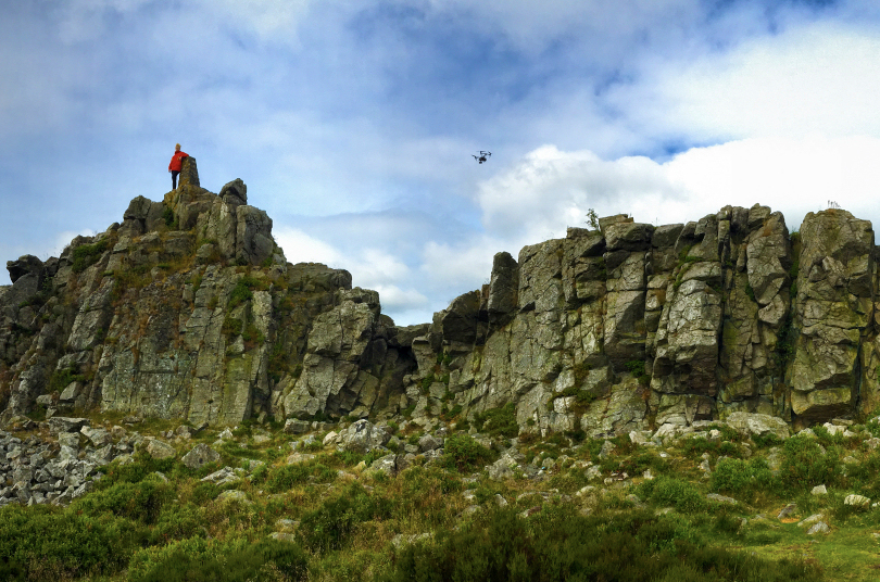 Filming on the Stiperstones using cutting edge drone technology. Photo: SMN Film