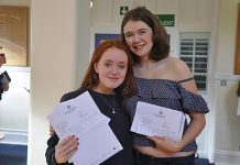 Shrewsbury High School Head Girl Alexa Newman and Deputy Head Girl Sarah Callear celebrate top A-level results