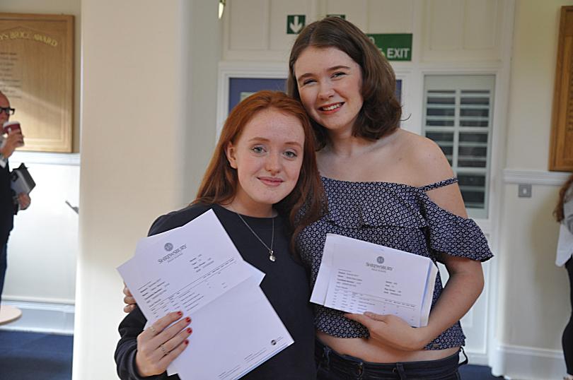Shrewsbury High School Head Girl Alexa Newman and Deputy Head Girl Sarah Callear celebrate top A-level results