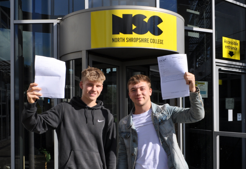 Josh Biggs with his results of A in Photography, B in Graphic Design and C in Media who is going to study Film Production Technology at Birmingham City University and Josh Baldwin with his results including B in History and C in PE who is going to study Sport and Exercise Science at Cardiff Metropolitan University and plans to then go into the RAF