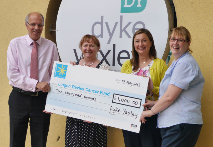 From left, Dyke Yaxley Managing Director Laurie Riley, Helen Thomas, and 	Francesca Hutcheson hand over the cheque to Louise Dawson, Fundraising Manager from the Lingen Davies Cancer Fund