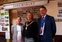 Councillor Jane Mackenzie, Mayor of Shrewsbury with David Morris, Board Member of Shrewsbury Railway Heritage Trust