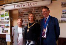 Councillor Jane Mackenzie, Mayor of Shrewsbury with David Morris, Board Member of Shrewsbury Railway Heritage Trust