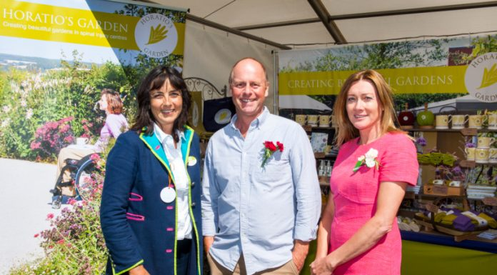Dr Olivia Chapple, founder and Chair of Trustees of Horatio's Garden with BBC presenter and leading garden designer Joe Swift and Penny Meadmore, a Royal Horticultural Society award winning garden designer