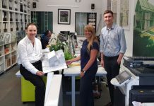 Pictured at the Johnson Design Partnership office, from left, Ross Hennigan, Sam Hunter and Mike Daw
