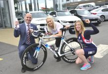 Leonie Keeling (right) with Dale MacKenzie and Naomi Hallam of Rybrook BMW and MINI, Shrewsbury