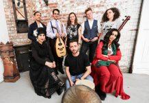 The Passerine ensemble that will premiere new music celebrating diverse world cultures at Shrewsbury Folk Festival. Back (l-r) Vijay Venkat, Mina Salama, Heidi Tidow, Belinda O'Hooley, Avital Raz, and front (l-r) Sarah Yaseen, Arian Sadr and Shurooq Abu Nas
