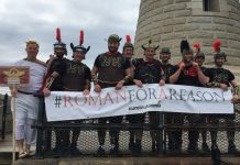 The Pave Aways team on their Roman themed coast to coast walk for Cure Leukaemia