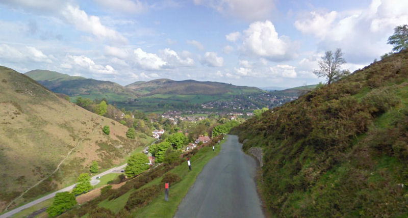 A view of Church Stretton from The Burway