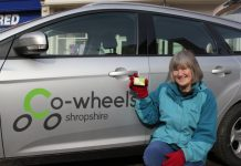 Hilary Daltry, one of the first Co-wheels Shropshire members pictured at the Shrewsbury launch in 2012