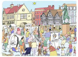 A cartoon illustration of the Festival by Will Dawbarn (Wilbur)