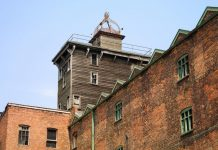 Exterior view looking up at the turret of Shrewsbury Flaxmill Maltings. Photo: English Heritage
