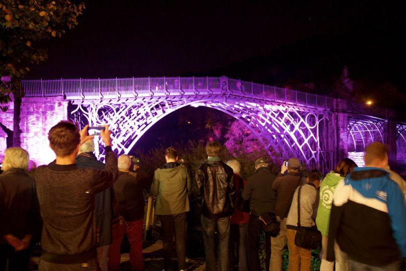 The Iron Bridge seen lit up as part of the Night of Heritage Light celebration in 2015