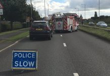 The scene of the incident on the A41 at Prees Heath. Photo: @SFRS_JBainbr