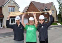 At Galliers' Belvidere Park development in Shrewsbury are Rachael Thomas and Craig White of Galliers Homes with Helen Knight (centre) of Macmillan Cancer Support