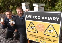 Quality, Safety and Sustainability Manager Manel Roura and Facilities Manager Jamie Mills, of Lyreco with some of the honey made by the company's bees