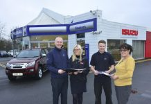 From left, Gary Bell (parts and service manager), Laura Canning (service reception), Will Heslop (vehicle technician) and Carrie Schmidt (sales administrator)
