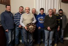 Triumphant League Winners, Breidden Team. (l-r) Richard Lewis, Martin Pearce, John Davies (Capt), Glyn Jones, Jack Francis, Hywel Morgan, Aled Evans, Rich Morgan