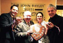Buckatree Hall general manager Wayne Jenson, Wellington Mayor Phil Morris Jones, and Bayley Mile organisers Caroline Mulvihill and Jim Mostyn