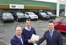 Robert and Richard Stewart welcome new managing director Joe Barney to Aberystwyth