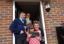 JoJo Chidlow with husband Adrian, son Rio and daughter Gucci are now able to access superfast fibre broadband