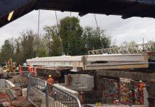 The new bridge deck being installed at Albrighton station. Photo: Network Rail
