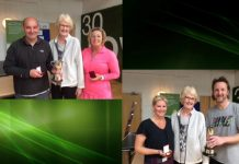 Top Left: Over-50s winners Karl and Sue Dunn with former LTA president Cathie Sabin. Bottom Right: Over-35s winners Sophie Daley and Damon Airey