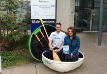 Geraint Davies, Macmillan Physiotherapist with Coracle Championship organiser, Jayney Davies