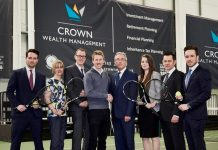 Jon Gidney, fourth left, the marketing manager at The Shrewsbury Club, with Brian Benson, the managing director of Crown Wealth Management, and other members of the Crown team. Photo: Paul Elton Photography