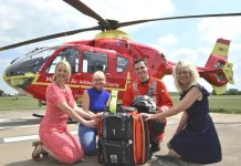 At the Midlands Air Ambulance base are, from left, Julia Allinson, Valerie Sogel of PCP, paramedic Steve Mason and Maria Jones