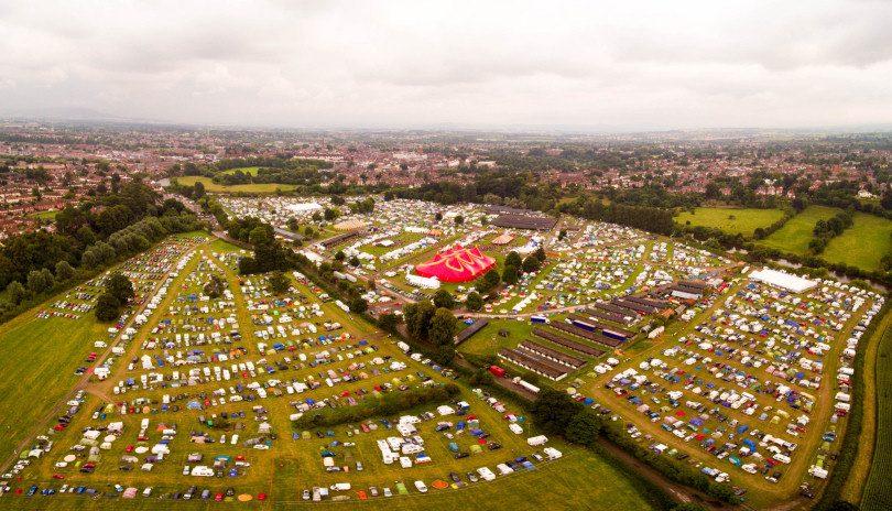 The Shrewsbury Folk Festival site. Photo: Drone Rangers