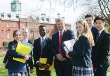Headmaster, Mark Turner, with pupils at Shrewsbury School.