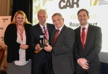 TTC Group director Alan Prosser (second left)receives the award from Road Safety Support Chair Med Hughes with Avon and Somerset Police's Sharon Konstanjsek and FirstCar's James Evans